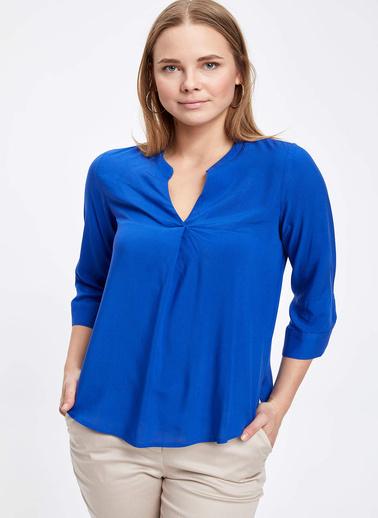 DeFacto V Yaka Uzun Kollu Bluz Mavi